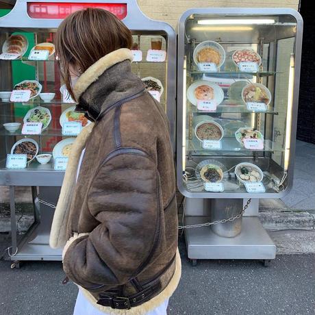 "Mouton Leather Boa Jacket ""TYPE-B3"" BROWN Mサイズ"