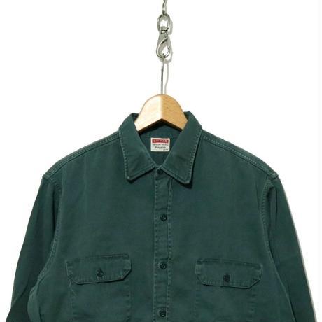 "70's PENNY'S BIG MAC ""マチ付き"" アーミークロス コットンワークシャツ GRN"