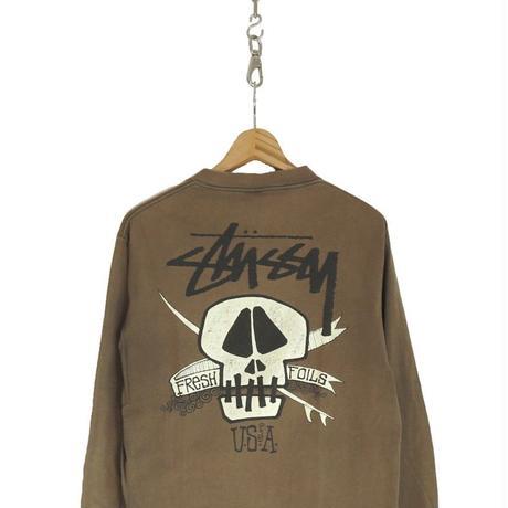 "90's OLD STUSSY ""SKULL SURF"" L/S Tシャツ 黒タグ Mサイズ USA製"