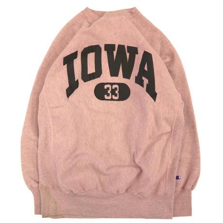 """80's CHAMPION RW SWEAT """"IOWA 33"""" Over Dye Pink XXLサイズ USA製"""