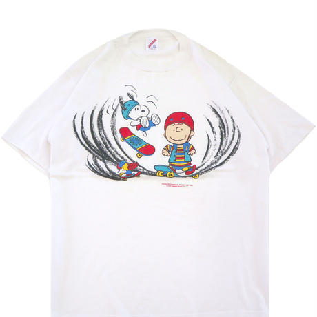 """90's JERZEES """"SNOOPY"""" プリント Tシャツ WHITE XLサイズ USA製"""