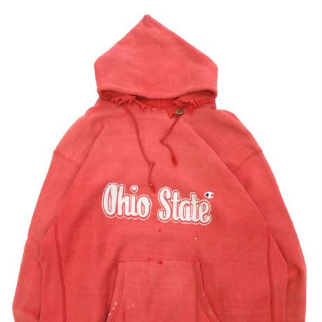 """80's CHAMPION RW SWEAT PARKA """"目付き Ohio"""" Red XLサイズ USA製"""
