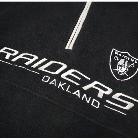 90's OLD RAIDERS Fleece Pull-over Jacket BLACK Lサイズ