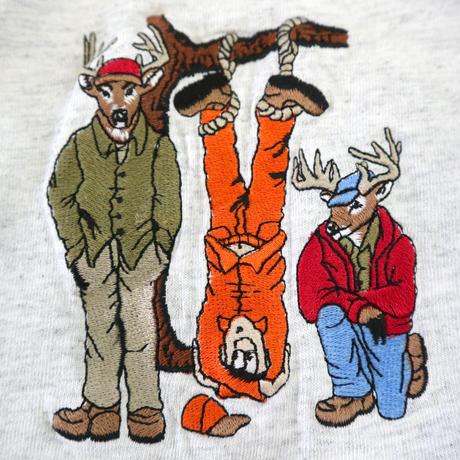 "00's GILDAN ""Human Hunter embroidery"" Tシャツ 杢グレー XLサイズ"