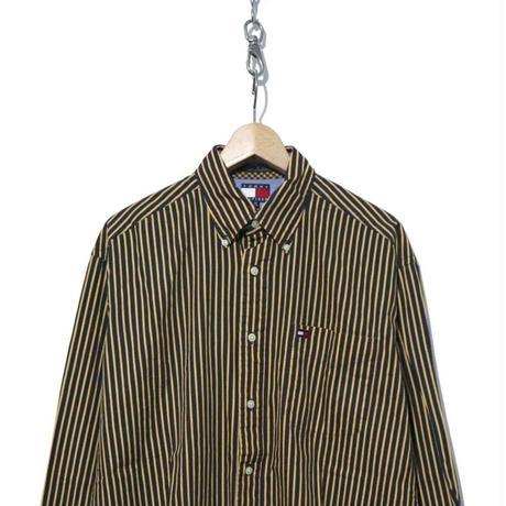 90's TOMMY HILFIGER ストライプ ボタンダウンシャツ Mサイズ