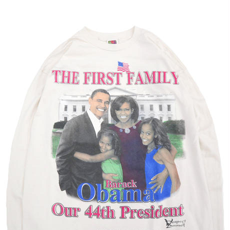 "00's FRUIT OF THE LOOM ""Obama"" 両面 プリント ロングスリーブ Tシャツ XLサイズ"