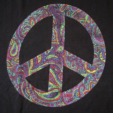 "90's FRUIT OF THE LOOM ""Paisley Peace"" Tシャツ USA製 XLサイズ"