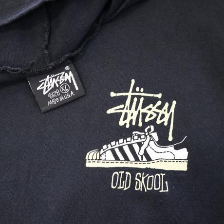 """80's~90's OLD STUSSY """"OLD SKOOL"""" プリント Tシャツ パーカー 黒タグ XLサイズ USA製"""