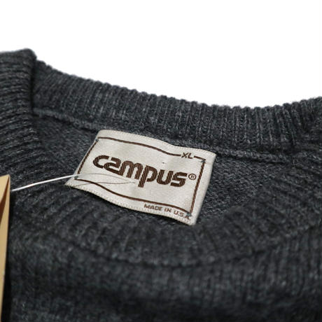90's DeadStock タグ付き CAMPUS 無地ニット CHARCOAL USA製