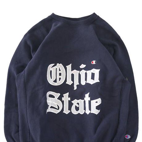 "90's CHAMPION RW SWEAT ""目付き Ohio"" Navy Lサイズ USA製"