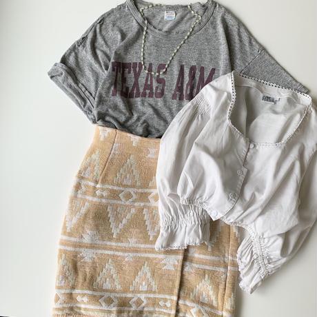 """Women's"" 90's~ Bravo パイル地 ネイティブ柄 ラップスカート INDIA製"