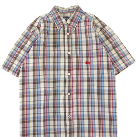90's OLD STUSSY マドラス チェック ボタンダウン シャツ Lサイズ USA製