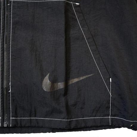 "90's OLD NIKE ""Big Logo×White Stitch"" Nylon Full Zip Jacket Black XLサイズ"