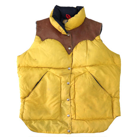 70's Rocky Mountain Featherbed ダウンベスト Yellow×Brown 11/12サイズ