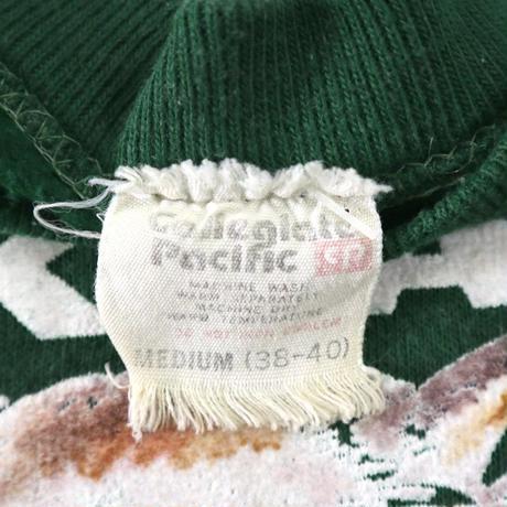 "70's Collegiate Pacific ""WOLFS"" カラー フロッキー スウェット Mサイズ"