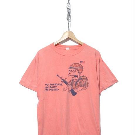 "90's SIMPSONS ""YO SADDAM"" 両面 染み込み プリント Tシャツ"
