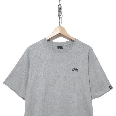 "00's~ STUSSY ショーンフォント 刺繍ロゴ Tシャツ ""OKAY"" 杢GRAY"
