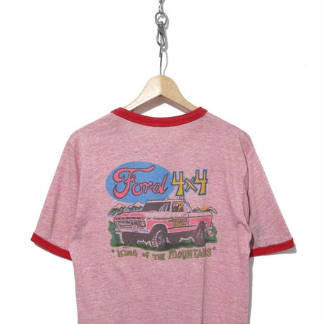 "80's~ FORD ""4×4"" 両面プリント リンガーTシャツ 霜降りピンク"
