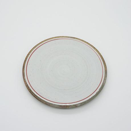 【パンとごはんと...】一本線の白い器 PLATE S red