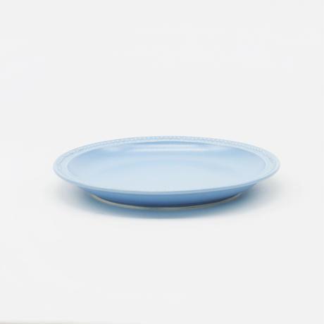 【M048bg】パンとごはんと... リムドット ラウンドプレート S blue-gray