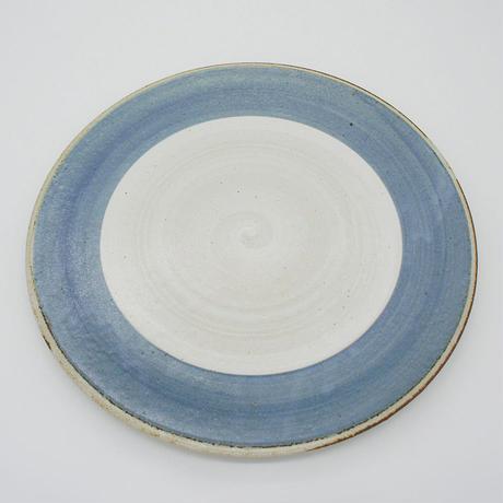 【M003bl】パンとごはんと...  まるい縁取りの陶器 PLATE L blue