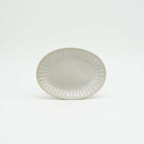 【M040wh】パンとごはんと... ひらひらの器 OVAL MINI PLATE white