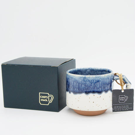 【CS006】CHIPS stack mug. PREMIUM white-navy drop