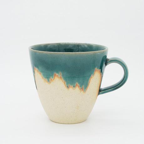【M015tb】パンとごはんと... 艶釉の器 MUG CUP turkey blue
