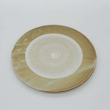【M002gy】パンとごはんと...  まるい縁取りの陶器 PLATE M gray