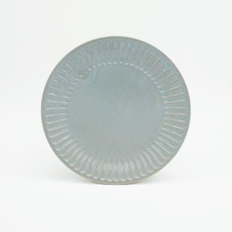 【M043bl】パンとごはんと... ひらひらの器 ROUND PLATE M blue