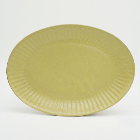 【M039yl】パンとごはんと... ひらひらの器 OVAL PLATE M yellow