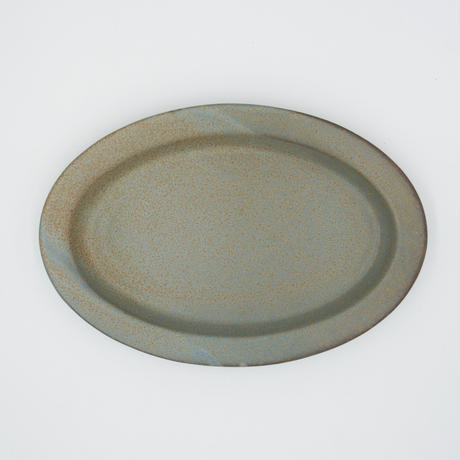 【AP004gy】Ancient Pottery OVAL PLATE gray