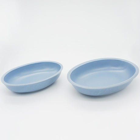 【M027bg】パンとごはんと... リムドット オーバルボウル S blue-gray