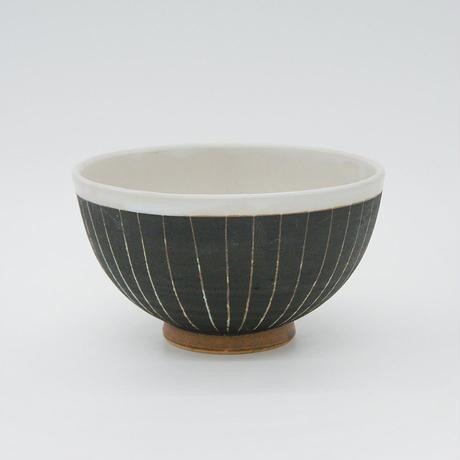 【M006bk】パンとごはんと...  掻き落としの陶器 RICE BOWL black