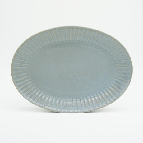 【M039bl】パンとごはんと... ひらひらの器 OVAL PLATE M blue