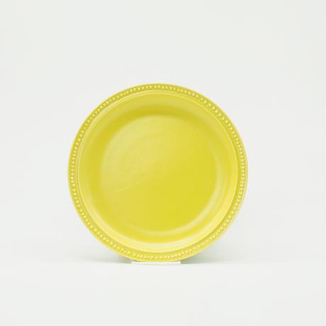 【M048yl】パンとごはんと... リムドット ラウンドプレート S yellow