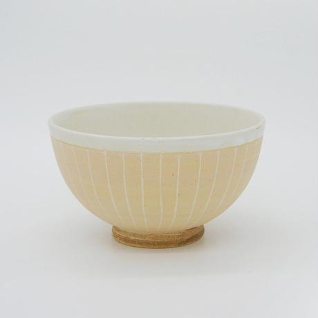 【M006cr】パンとごはんと...  掻き落としの陶器 RICE BOWL cream