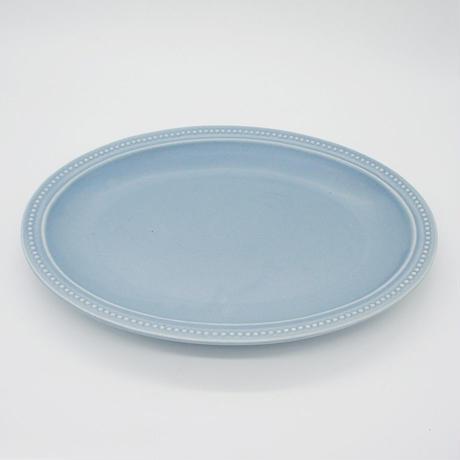 【M017bg】パンとごはんと... リムドット オーバルプレート L blue-gray