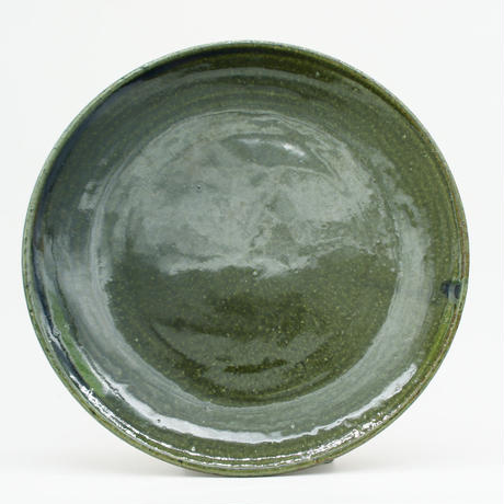 【H006ob】Heuge PLATE L oribe(八寸平皿 織部)