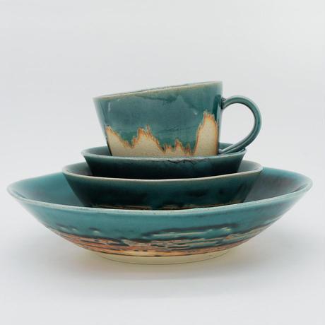 5周年記念!20%OFF【M015tb】パンとごはんと... 艶釉の器 MUG CUP turkey blue