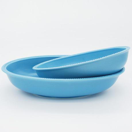 【M027sx】パンとごはんと... リムドット オーバルボウル S sax-blue