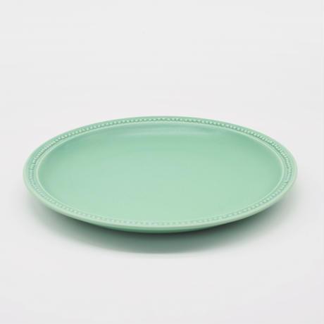 【M049gr】パンとごはんと... リムドット ラウンドプレート L green