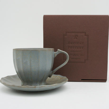 【AP007gy】Ancient Pottery CUP & SEUCER gray