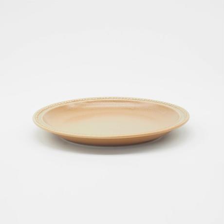 【M048mc】パンとごはんと... リムドット ラウンドプレート S mocha