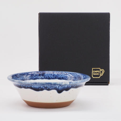 【CB006】CHIPS bowl. PREMIUM white-navy drop