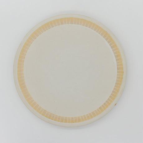 【M009cr】パンとごはんと...  掻き落としの陶器 PLATE L cream