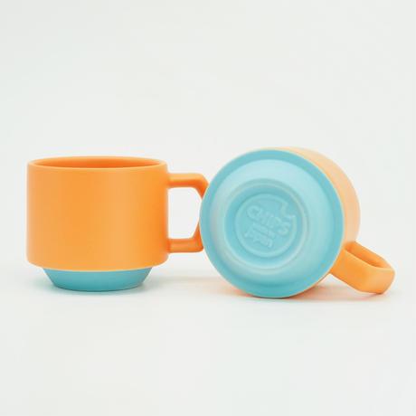 【CT-005】CHIPS stack mug. TOY COLOR -orange × turquoise-