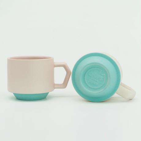 【CT-003】CHIPS stack mug. TOY COLOR -pink × emerald green-
