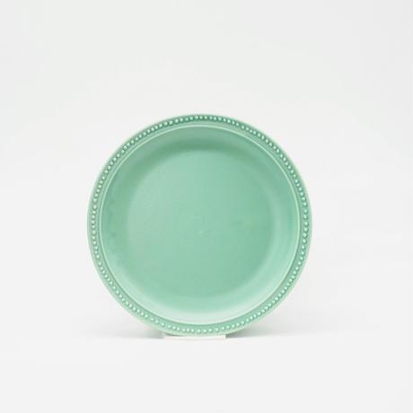 【M048gr】パンとごはんと... リムドット ラウンドプレート S green