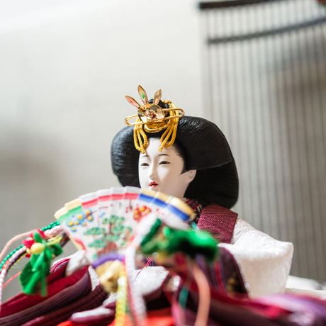 京十一番親王飾「龍村裂:菊もみ(銀)」
